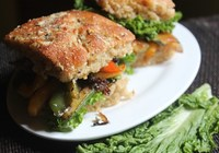 Cheese Focaccia Bread Sandwich with Veggies