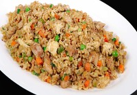 Stir Fried Rice with Chicken, Veggies and Soy Sauce and Sesame