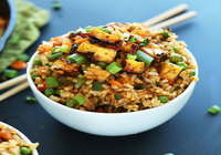 Tofu Stir Fried Rice with fresh veggies and Soy Sauce and Sesame