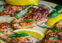 Seared Chicken with basil sauce