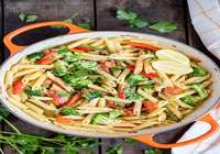 Penne with Vegetables & Garlic Toast