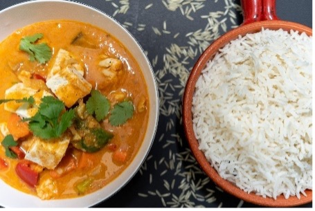 Thai Red Tofu Curry with Steamed Rice