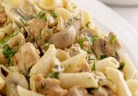 Chicken penne with mushroom in garlic sauce
