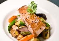 Fish Steak with Roasted Vegetables