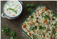 Yogi's Special Vegetable Biryani with Raita