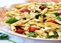 Mix Pasta with Fresh Vegetables and Herbed Pesto Sauce