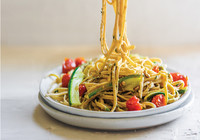 Roasted Veg and Nuts  Linguine Pesto