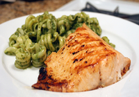 Baked Salmon with Linguine Pesto