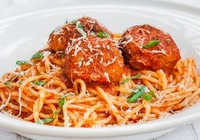 Chicken Balls Spaghetti in Rose Sauce