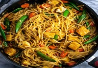 Indian Style Chow mein with Hot & Sour Tofu